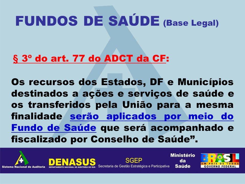 § 3º do art. 77 do ADCT da CF: Os recursos dos Estados, DF e Municípios destinados a ações e serviços de saúde e os transferidos pela União para a mes
