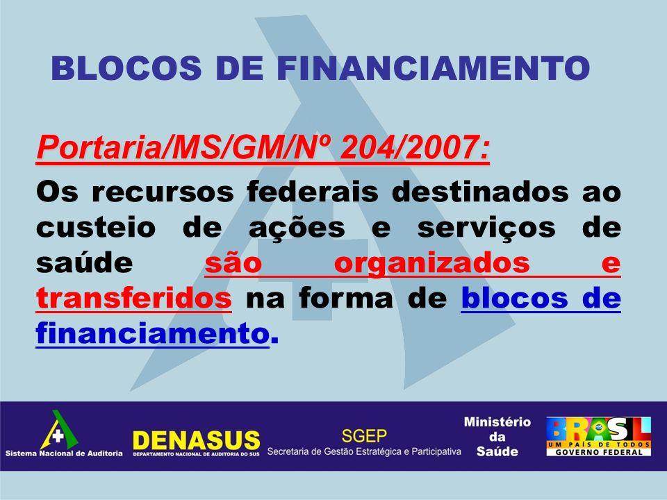 Portaria/MS/GM/Nº 204/2007: Os recursos federais destinados ao custeio de ações e serviços de saúde são organizados e transferidos na forma de blocos