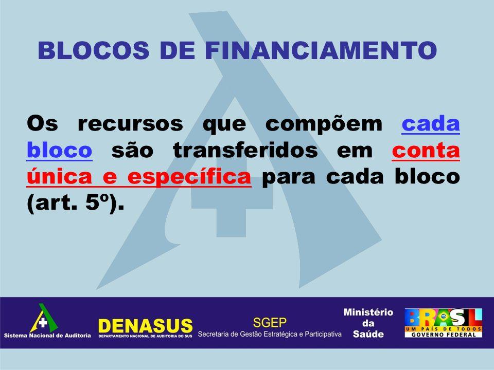 Os recursos que compõem cada bloco são transferidos em conta única e específica para cada bloco (art. 5º). BLOCOS DE FINANCIAMENTO