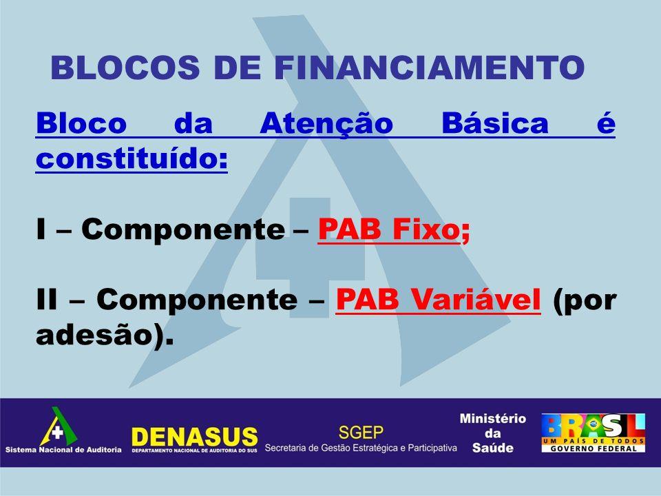 Bloco da Atenção Básica é constituído: I – Componente – PAB Fixo; II – Componente – PAB Variável (por adesão). BLOCOS DE FINANCIAMENTO