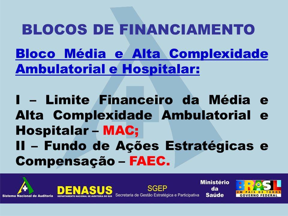 Bloco Média e Alta Complexidade Ambulatorial e Hospitalar: I – Limite Financeiro da Média e Alta Complexidade Ambulatorial e Hospitalar – MAC; II – Fu