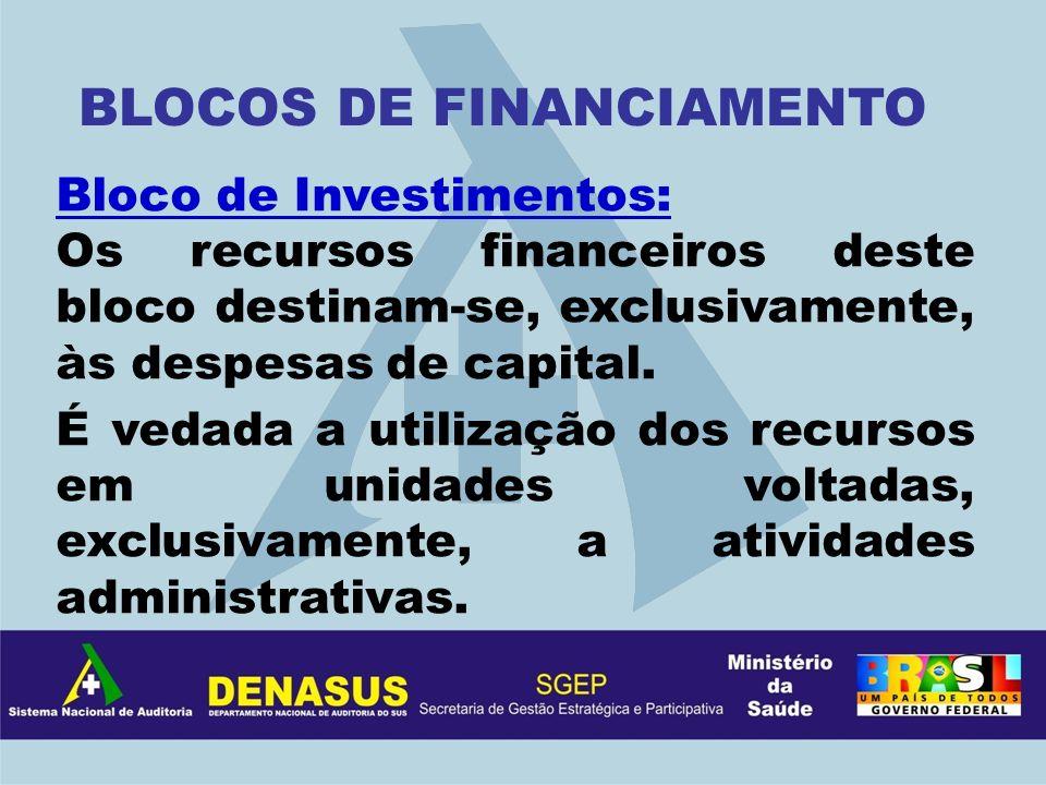 Bloco de Investimentos: Os recursos financeiros deste bloco destinam-se, exclusivamente, às despesas de capital. É vedada a utilização dos recursos em