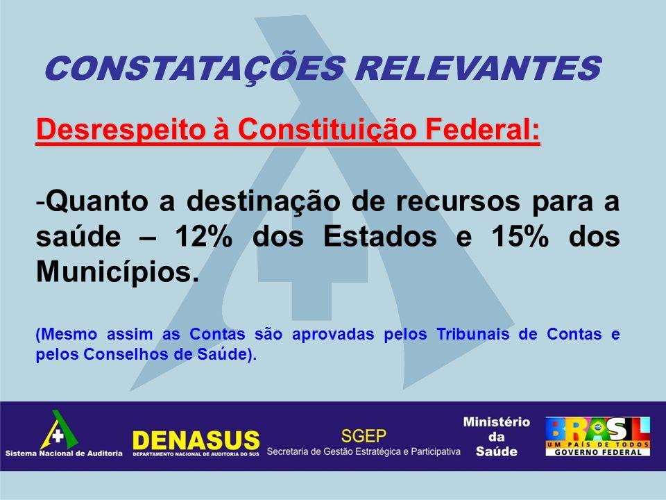 Desrespeito à Constituição Federal: -Quanto a destinação de recursos para a saúde – 12% dos Estados e 15% dos Municípios. (Mesmo assim as Contas são a