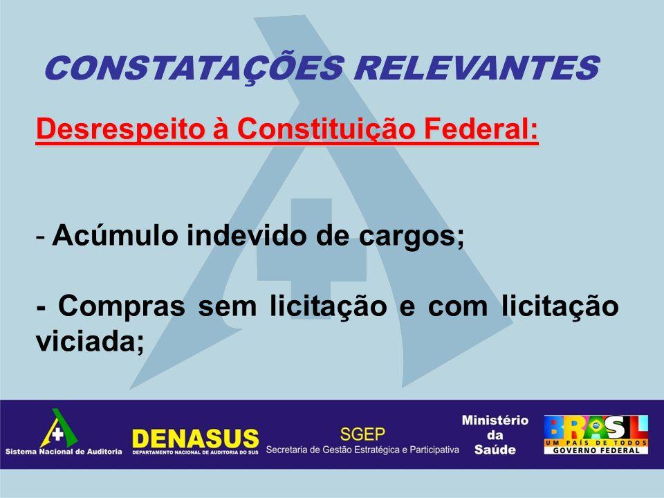 Desrespeito à Constituição Federal: - Acúmulo indevido de cargos; - Compras sem licitação e com licitação viciada; CONSTATAÇÕES RELEVANTES