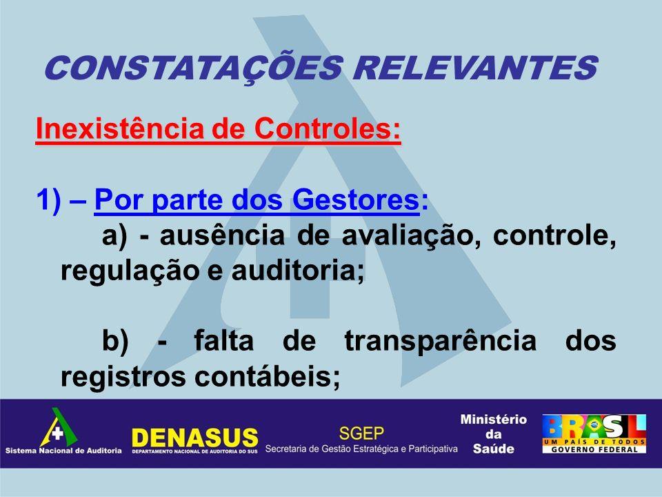 Inexistência de Controles: 1) – Por parte dos Gestores: a) - ausência de avaliação, controle, regulação e auditoria; b) - falta de transparência dos r