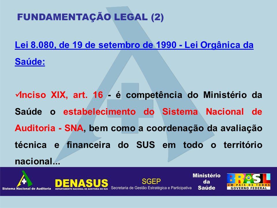Lei 8.080, de 19 de setembro de 1990 - Lei Orgânica da Saúde: Inciso XIX, art. 16 - é competência do Ministério da Saúde o estabelecimento do Sistema