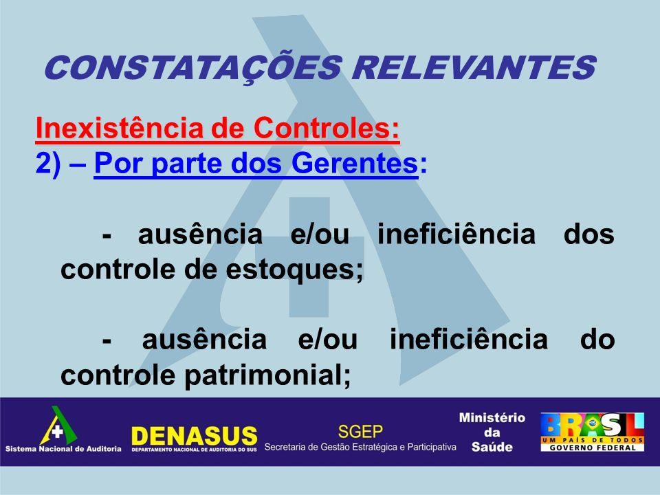 Inexistência de Controles: 2) – Por parte dos Gerentes: - ausência e/ou ineficiência dos controle de estoques; - ausência e/ou ineficiência do control