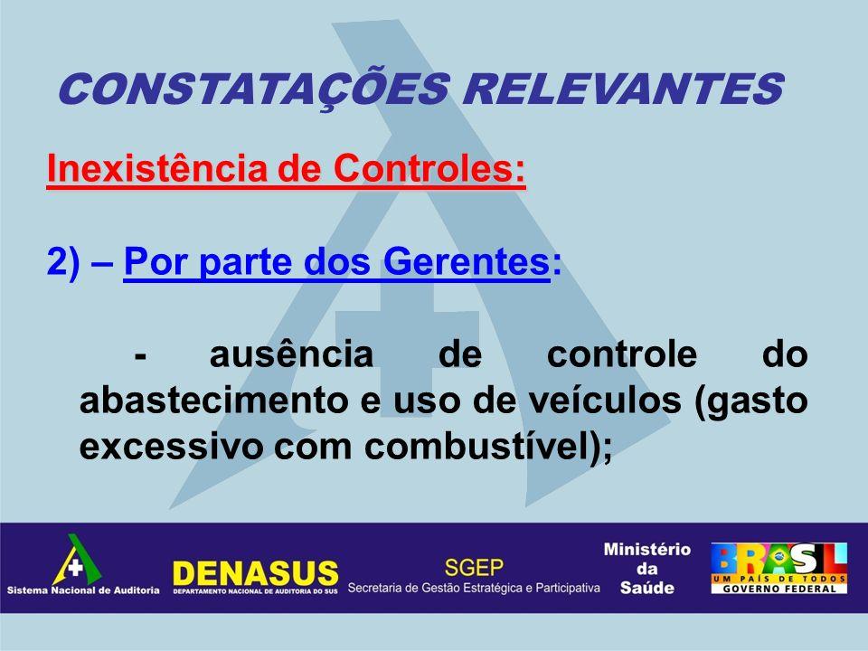 Inexistência de Controles: 2) – Por parte dos Gerentes: - ausência de controle do abastecimento e uso de veículos (gasto excessivo com combustível); C