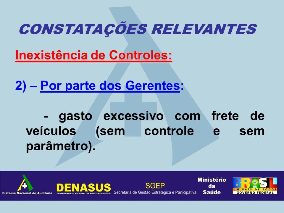Inexistência de Controles: 2) – Por parte dos Gerentes: - gasto excessivo com frete de veículos (sem controle e sem parâmetro). CONSTATAÇÕES RELEVANTE