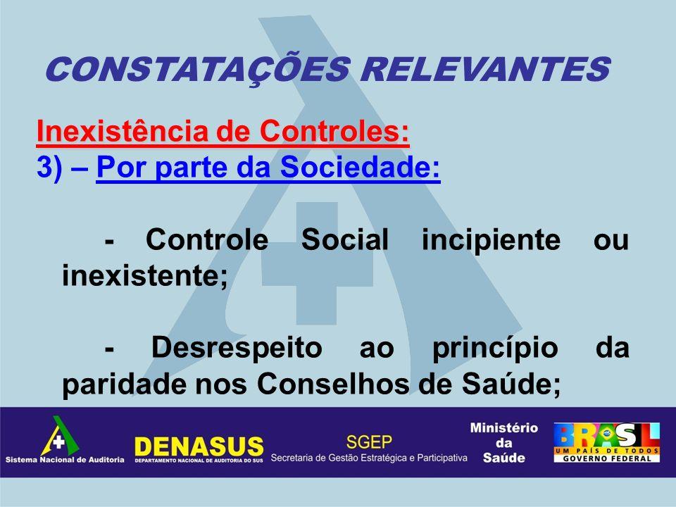 Inexistência de Controles: 3) – Por parte da Sociedade: - Controle Social incipiente ou inexistente; - Desrespeito ao princípio da paridade nos Consel