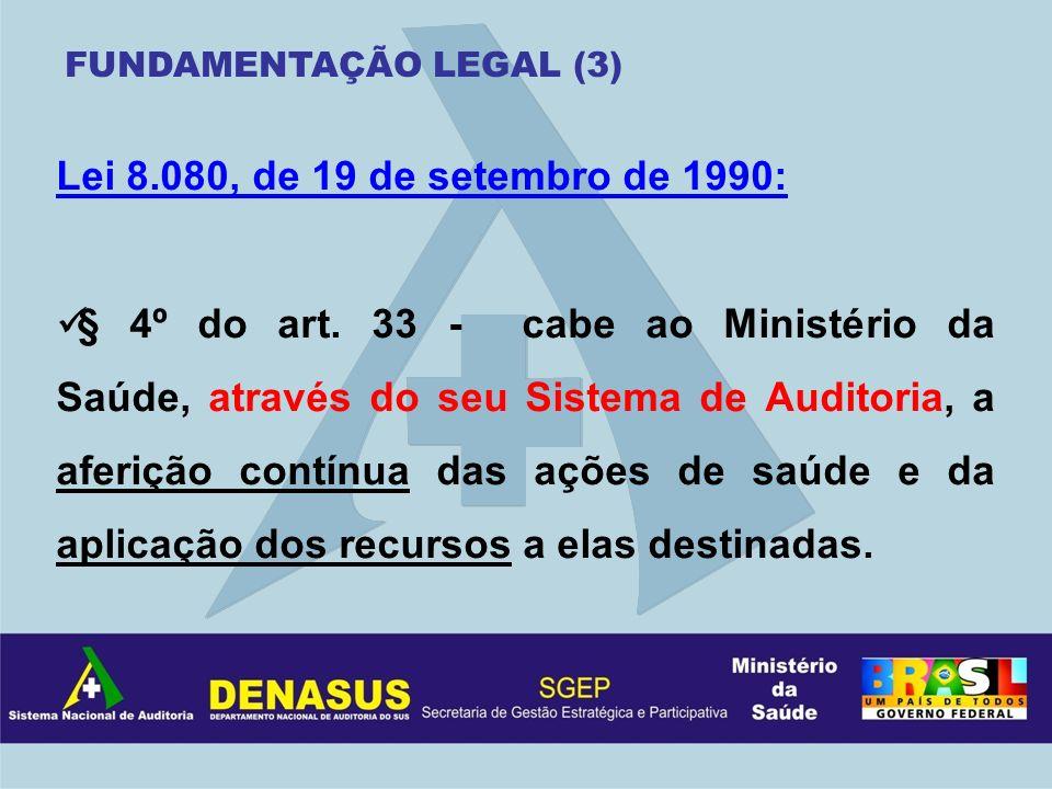Lei 8.080, de 19 de setembro de 1990: § 4º do art. 33 - cabe ao Ministério da Saúde, através do seu Sistema de Auditoria, a aferição contínua das açõe
