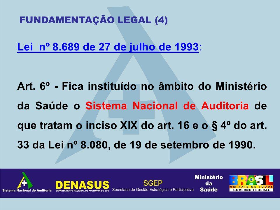 Lei nº 8.689 de 27 de julho de 1993: Art. 6º - Fica instituído no âmbito do Ministério da Saúde o Sistema Nacional de Auditoria de que tratam o inciso