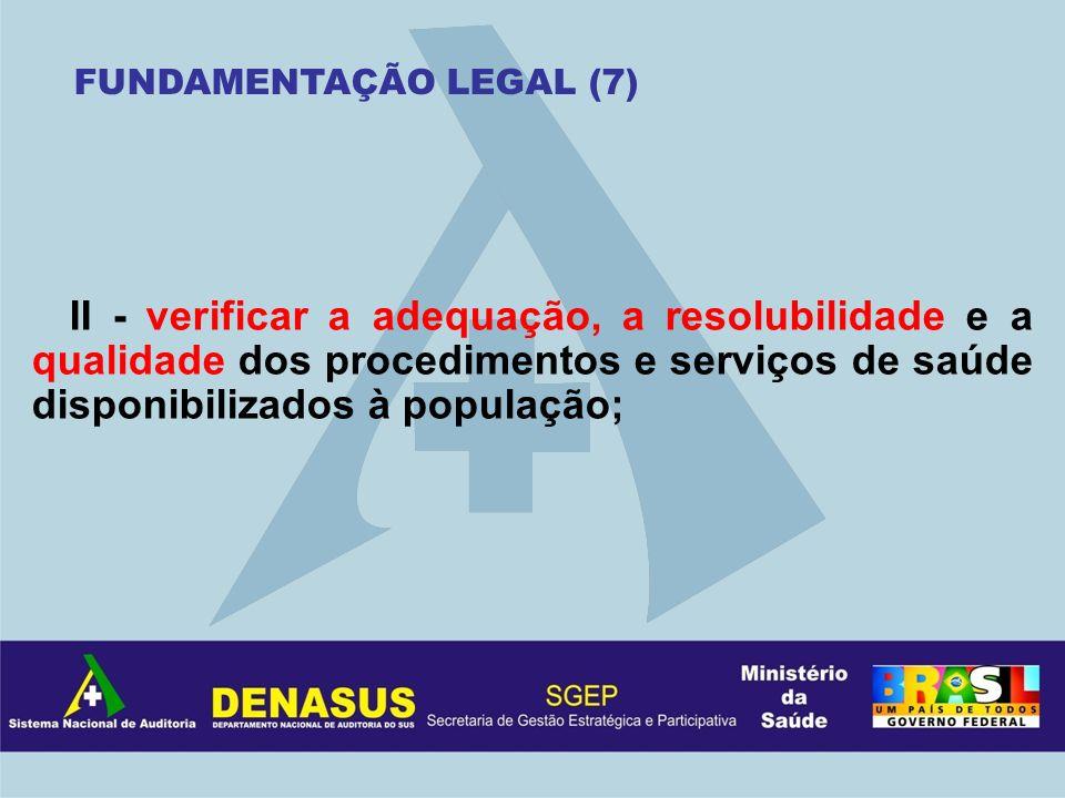 II - verificar a adequação, a resolubilidade e a qualidade dos procedimentos e serviços de saúde disponibilizados à população; FUNDAMENTAÇÃO LEGAL (7)