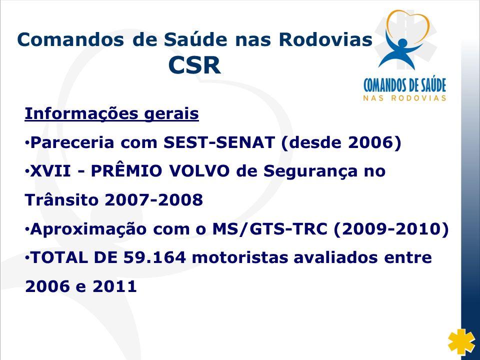 Fonte: DISAS/CGRH/DPRF/MJ: 2002-07 Comandos de Saúde nas Rodovias CSR Informações gerais Pareceria com SEST-SENAT (desde 2006) XVII - PRÊMIO VOLVO de