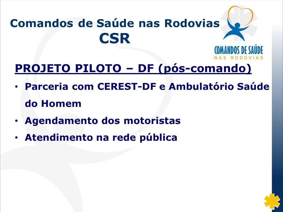 Fonte: DISAS/CGRH/DPRF/MJ: 2002-07 Comandos de Saúde nas Rodovias CSR PROJETO PILOTO – DF (pós-comando) Parceria com CEREST-DF e Ambulatório Saúde do