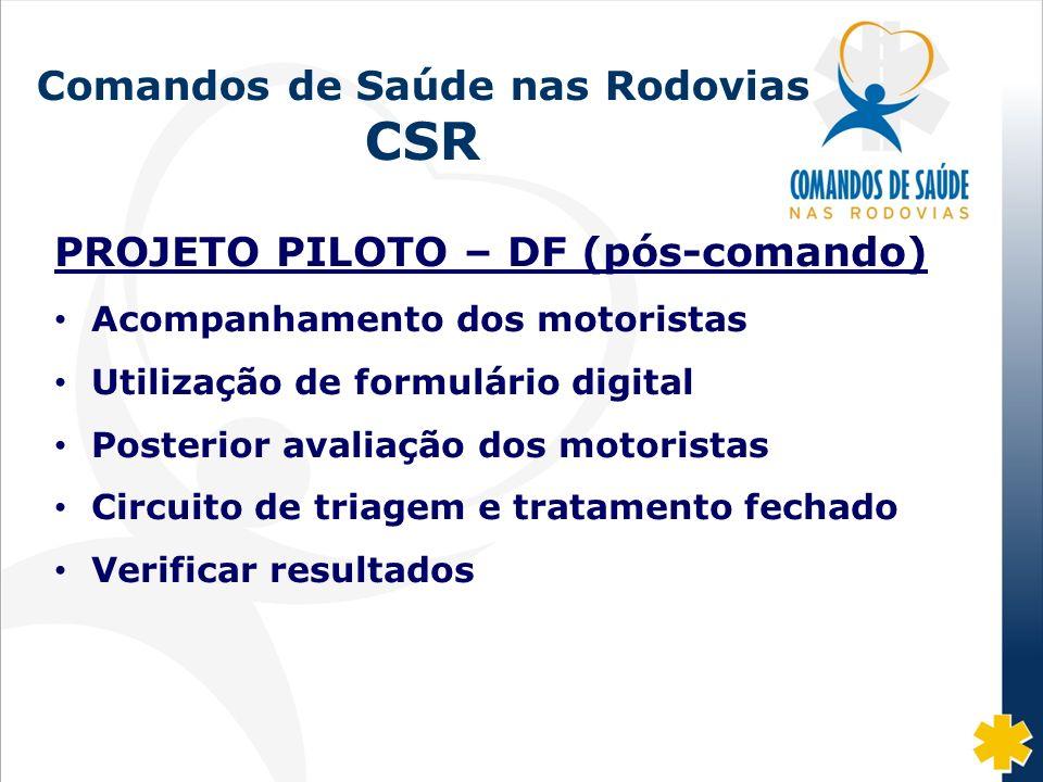 Fonte: DISAS/CGRH/DPRF/MJ: 2002-07 Comandos de Saúde nas Rodovias CSR PROJETO PILOTO – DF (pós-comando) Acompanhamento dos motoristas Utilização de fo
