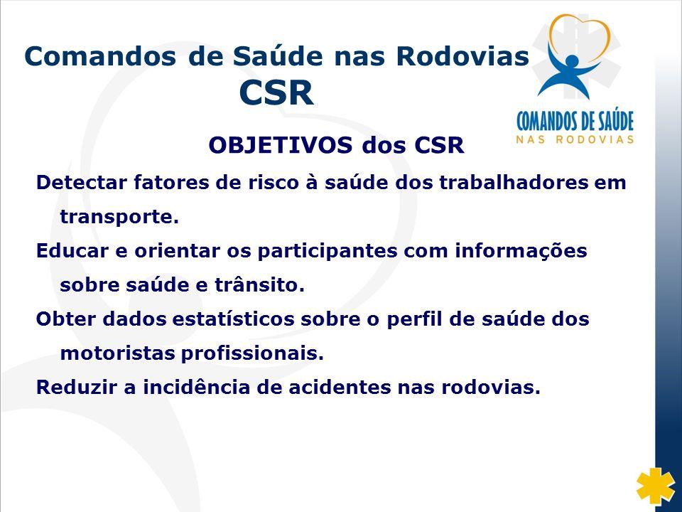 Fonte: DISAS/CGRH/DPRF/MJ: 2002-07 Comandos de Saúde nas Rodovias CSR OBJETIVOS dos CSR Detectar fatores de risco à saúde dos trabalhadores em transpo