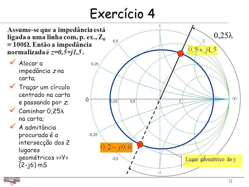 11 Exercício 4 Alocar a impedância z na carta; Traçar um círculo centrado na carta e passando por z; Caminhar 0,25 na carta; A admitância procurada é a intersecção dos 2 lugares geométricos =>Y= (2-j6) mS 0,25 Lugar geométrico de y Assume-se que a impedância está ligada a uma linha com, p.