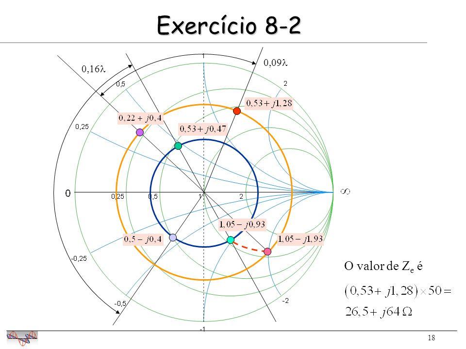 18 Exercício 8-2 0,16 0,09 O valor de Z e é