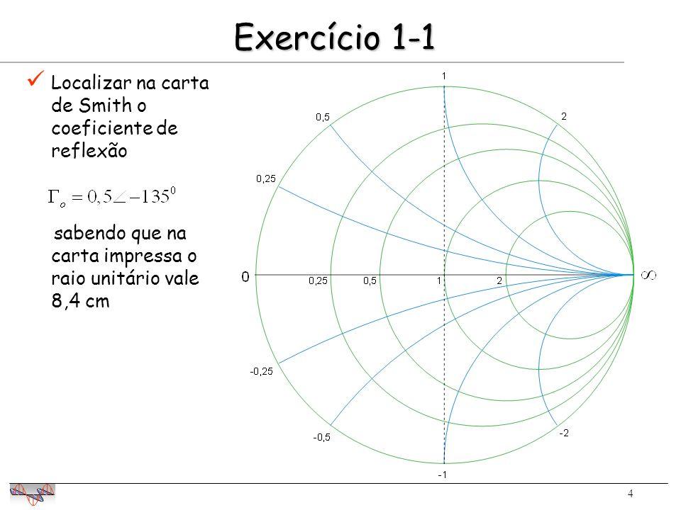 5 Exercício 1-2 0,75 Lugar geométrico de ângulo de fase -135 0 Lugar geométrico de módulo 0,75 O módulo de 0 é determinado por regra de 3 18,4 cm    =0,5 4,2 cm 0,5