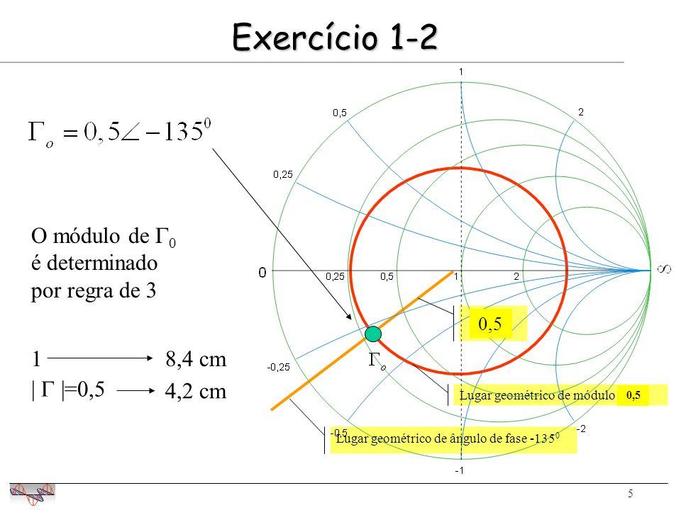 5 Exercício 1-2 0,75 Lugar geométrico de ângulo de fase -135 0 Lugar geométrico de módulo 0,75 O módulo de 0 é determinado por regra de 3 18,4 cm | |=0,5 4,2 cm 0,5
