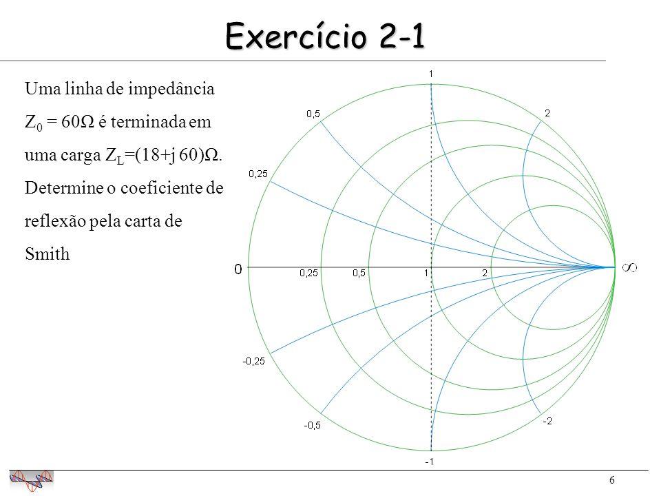 7 Exercício 2-2 Localizar na carta de Smith a impedância reduzida z=0,3+j1,0 módulo ângulo O módulo de 0 é determinado por regra de 3 18,4 cm   0   6,3 cm   0  =0,75 Determinar o módulo e fase do coeficiente de reflexão