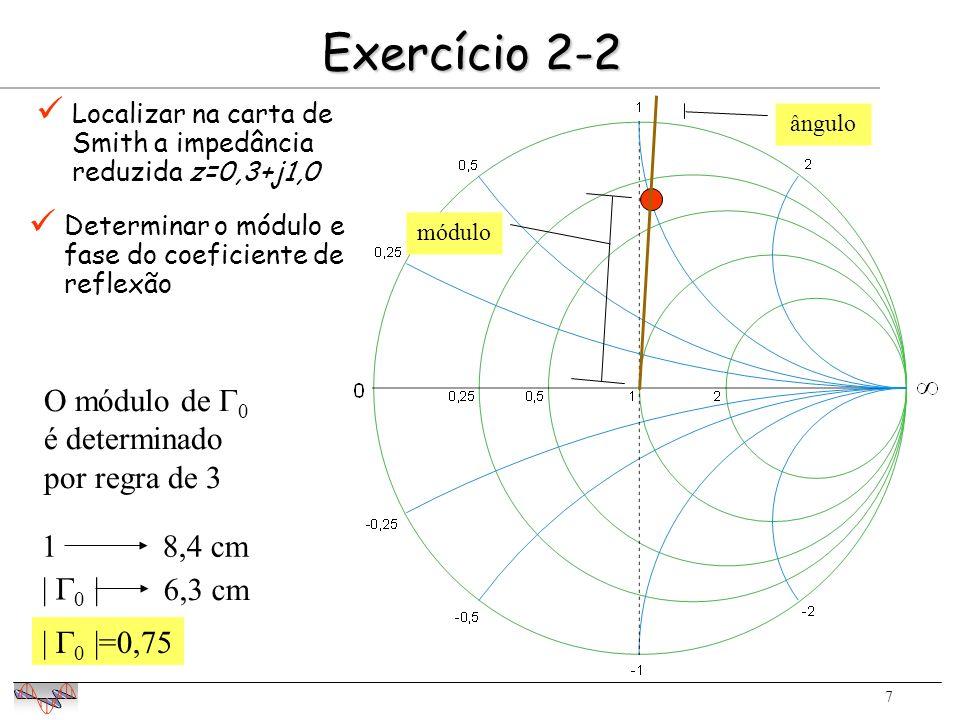7 Exercício 2-2 Localizar na carta de Smith a impedância reduzida z=0,3+j1,0 módulo ângulo O módulo de 0 é determinado por regra de 3 18,4 cm | 0 | 6,3 cm | 0 |=0,75 Determinar o módulo e fase do coeficiente de reflexão