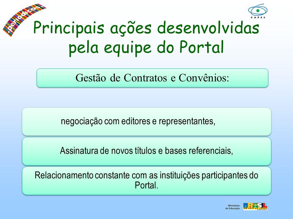 Principais ações desenvolvidas pela equipe do Portal negociação com editores e representantes,Assinatura de novos títulos e bases referenciais, Relaci