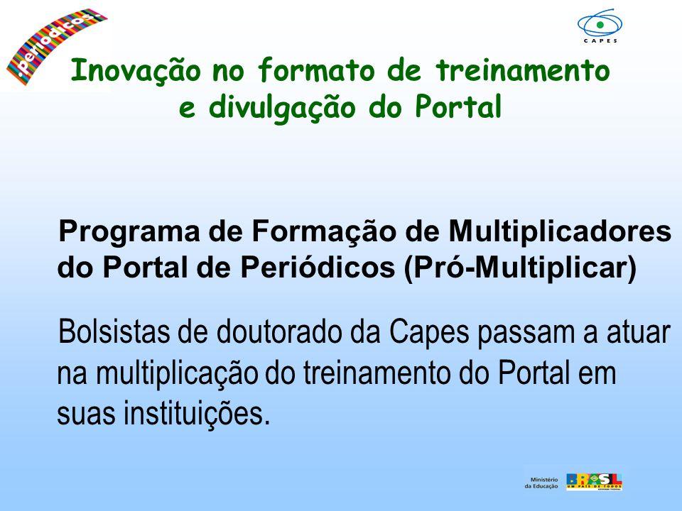 Inovação no formato de treinamento e divulgação do Portal Programa de Formação de Multiplicadores do Portal de Periódicos (Pró-Multiplicar) Bolsistas