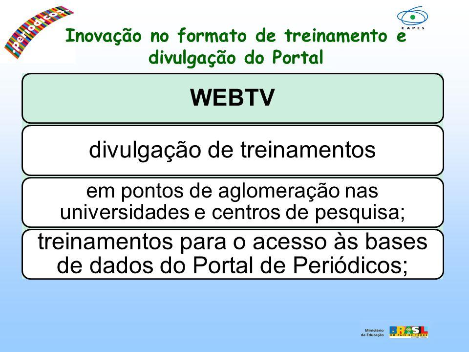 Inovação no formato de treinamento e divulgação do Portal WEBTVdivulgação de treinamentos em pontos de aglomeração nas universidades e centros de pesq