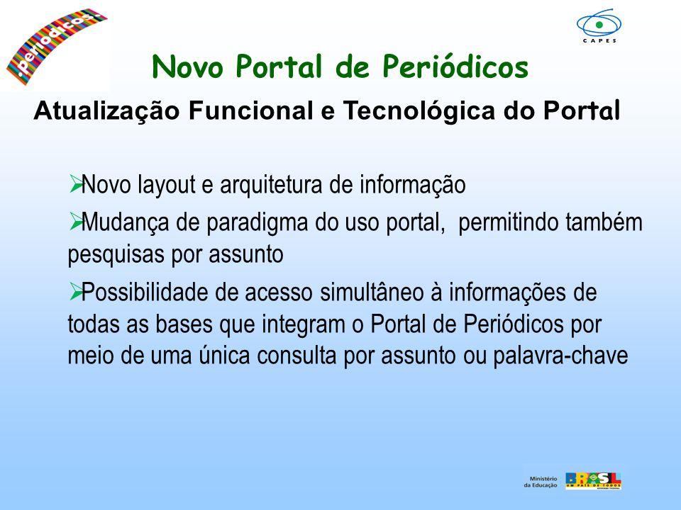 Novo Portal de Periódicos Atualização Funcional e Tecnológica do Por tal Novo layout e arquitetura de informação Mudança de paradigma do uso portal, p