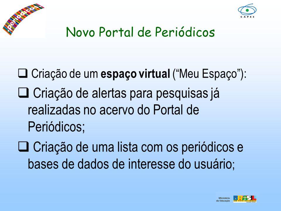 Novo Portal de Periódicos Criação de um espaço virtual (Meu Espaço): Criação de alertas para pesquisas já realizadas no acervo do Portal de Periódicos