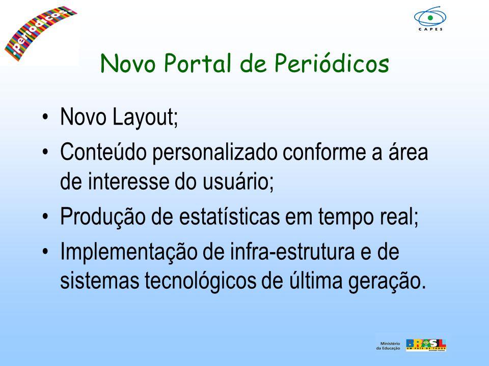 Novo Portal de Periódicos Novo Layout; Conteúdo personalizado conforme a área de interesse do usuário; Produção de estatísticas em tempo real; Impleme