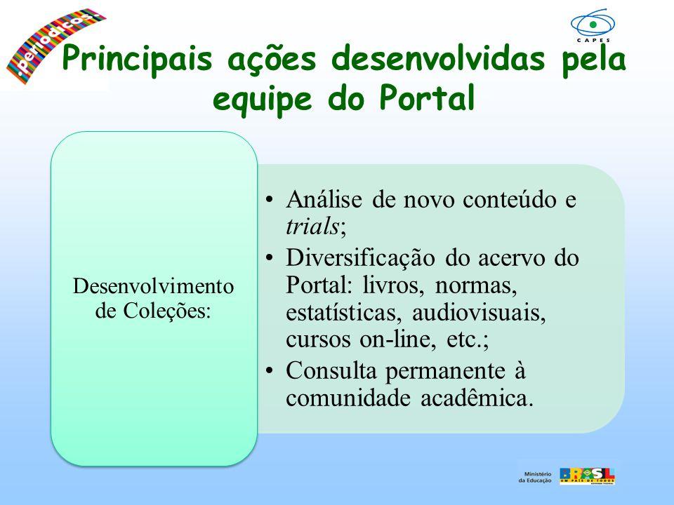 Principais ações desenvolvidas pela equipe do Portal Análise de novo conteúdo e trials; Diversificação do acervo do Portal: livros, normas, estatístic