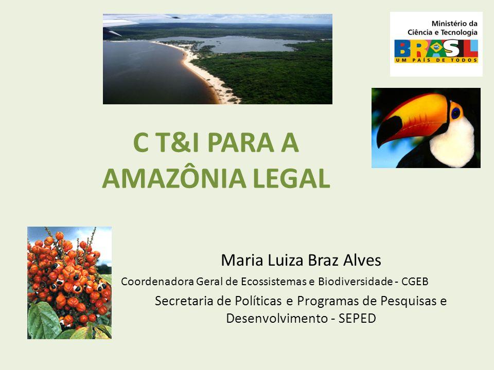 C T&I PARA A AMAZÔNIA LEGAL Maria Luiza Braz Alves Coordenadora Geral de Ecossistemas e Biodiversidade - CGEB Secretaria de Políticas e Programas de P