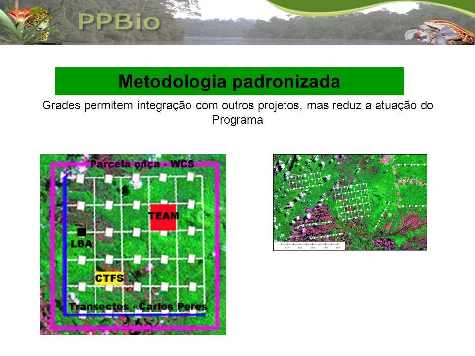 Metodologia padronizada Grades permitem integração com outros projetos, mas reduz a atuação do Programa