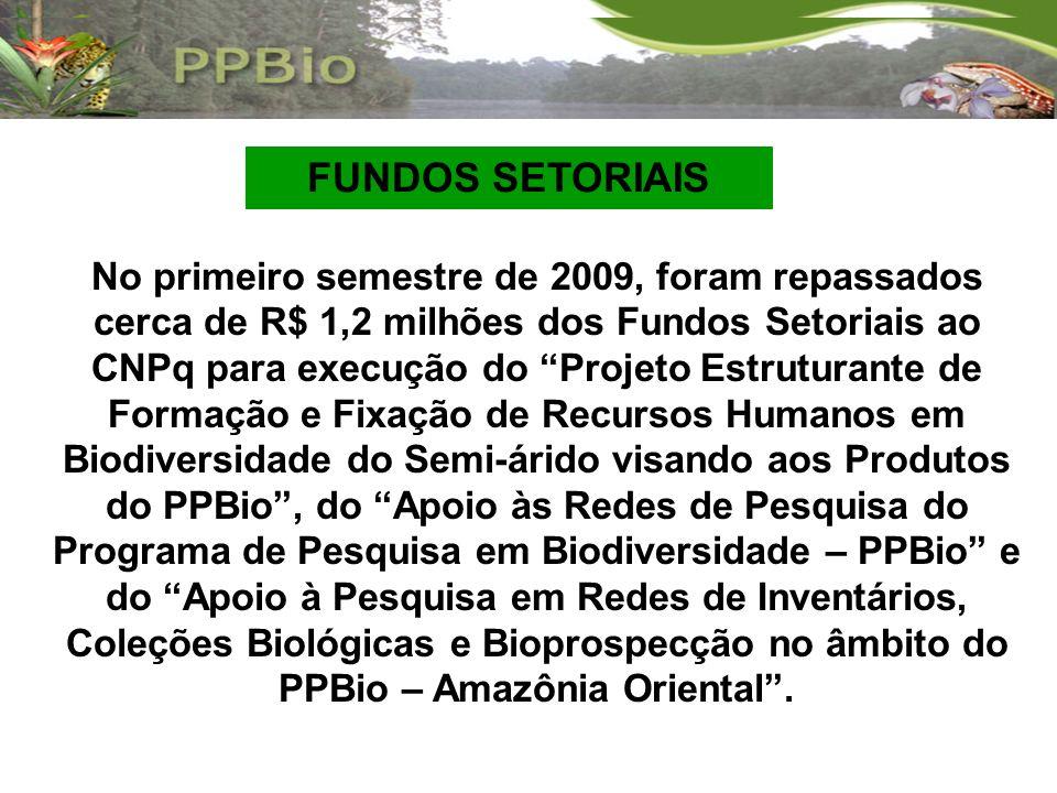 No primeiro semestre de 2009, foram repassados cerca de R$ 1,2 milhões dos Fundos Setoriais ao CNPq para execução do Projeto Estruturante de Formação