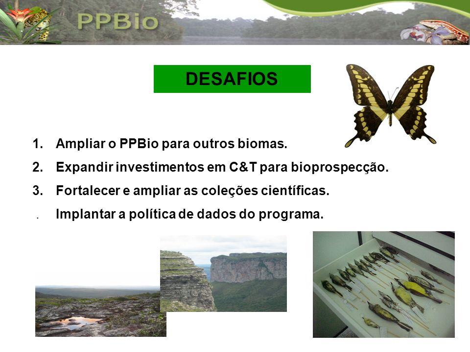 DESAFIOS 1.Ampliar o PPBio para outros biomas. 2.Expandir investimentos em C&T para bioprospecção. 3.Fortalecer e ampliar as coleções científicas..Imp