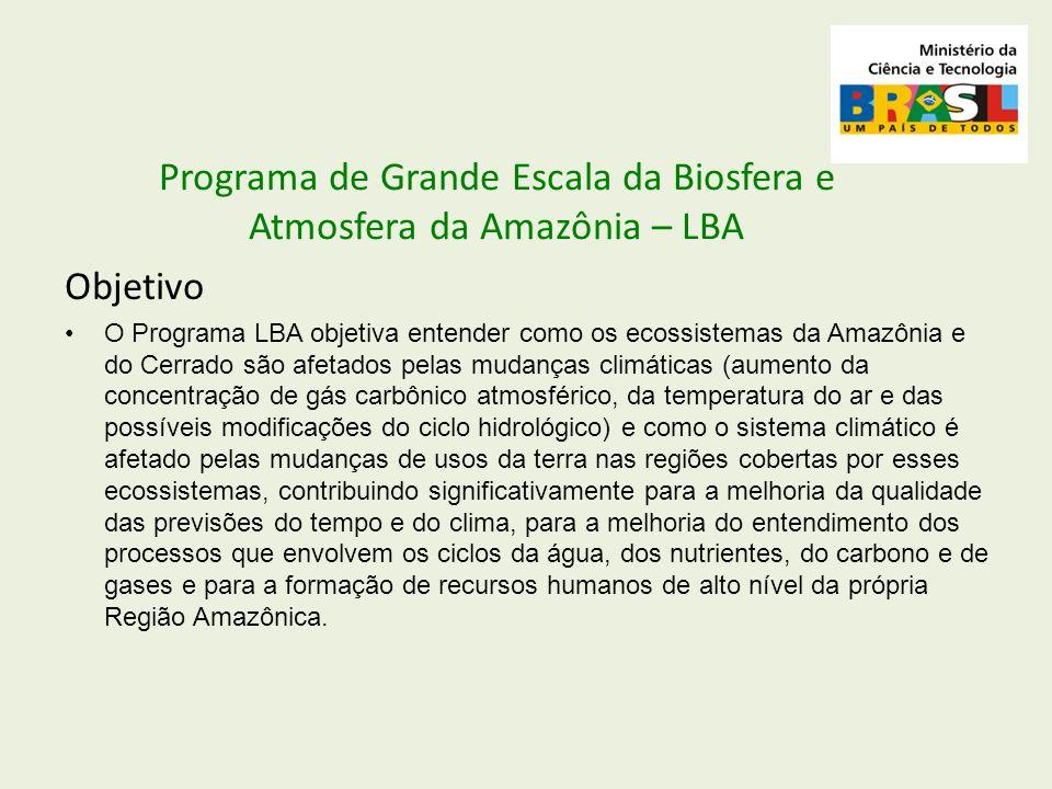 Objetivo O Programa LBA objetiva entender como os ecossistemas da Amazônia e do Cerrado são afetados pelas mudanças climáticas (aumento da concentraçã