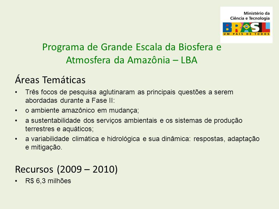 Áreas Temáticas Três focos de pesquisa aglutinaram as principais questões a serem abordadas durante a Fase II: o ambiente amazônico em mudança; a sust
