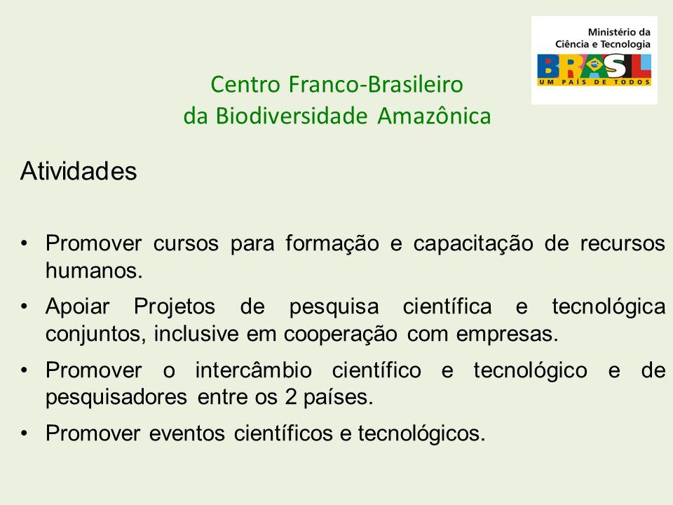 Centro Franco-Brasileiro da Biodiversidade Amazônica Atividades Promover cursos para formação e capacitação de recursos humanos. Apoiar Projetos de pe