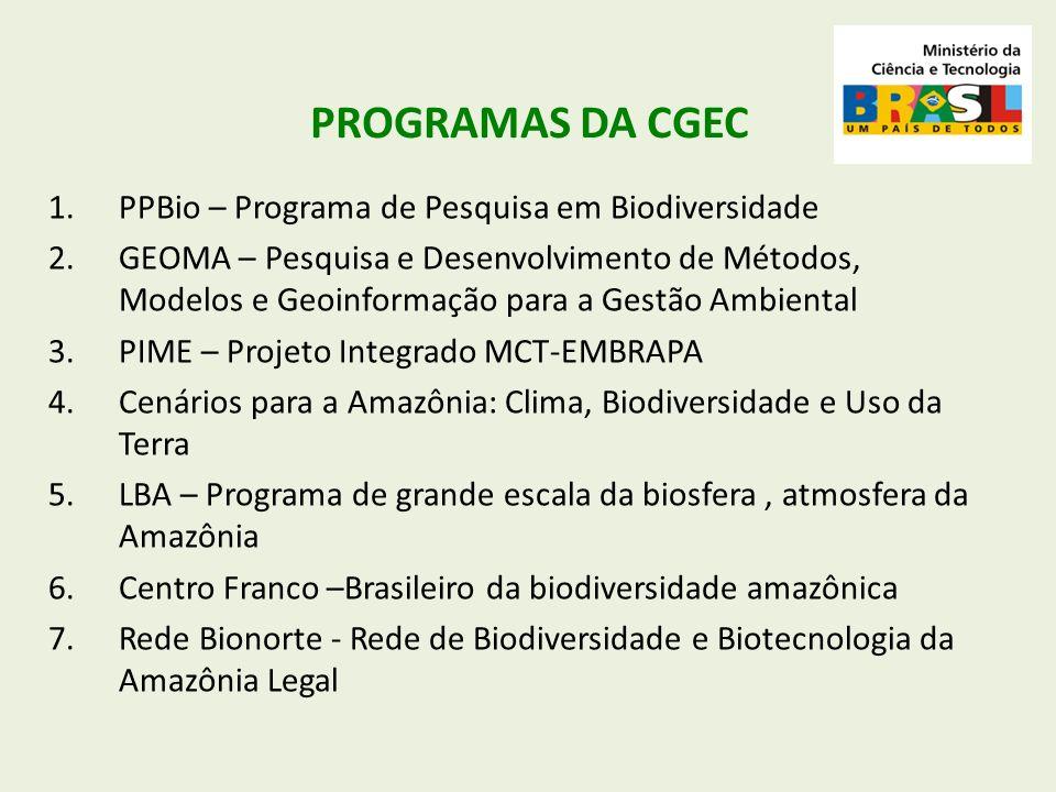 PROGRAMAS DA CGEC 1.PPBio – Programa de Pesquisa em Biodiversidade 2.GEOMA – Pesquisa e Desenvolvimento de Métodos, Modelos e Geoinformação para a Ges