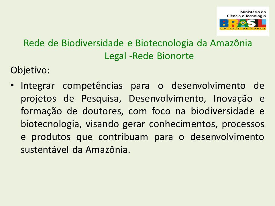 Rede de Biodiversidade e Biotecnologia da Amazônia Legal -Rede Bionorte Objetivo: Integrar competências para o desenvolvimento de projetos de Pesquisa