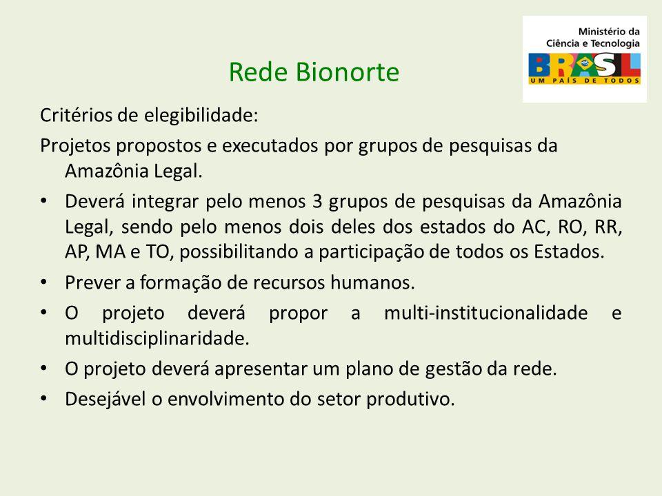 Critérios de elegibilidade: Projetos propostos e executados por grupos de pesquisas da Amazônia Legal. Deverá integrar pelo menos 3 grupos de pesquisa