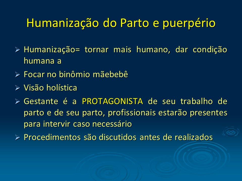Humanização do Parto e puerpério Humanização= tornar mais humano, dar condição humana a Humanização= tornar mais humano, dar condição humana a Focar n
