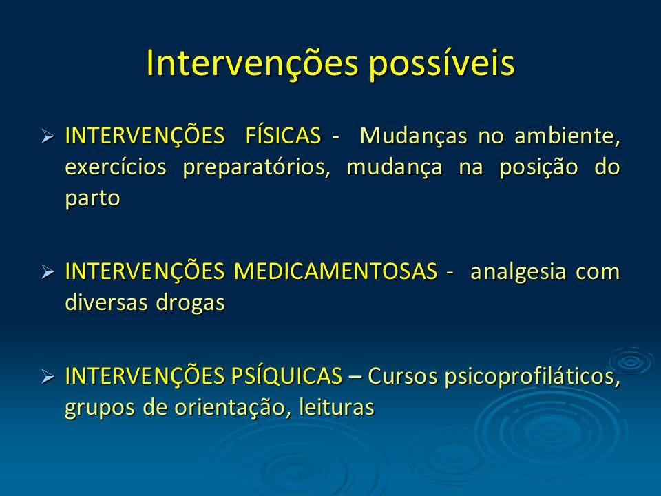 Intervenções possíveis INTERVENÇÕES FÍSICAS - Mudanças no ambiente, exercícios preparatórios, mudança na posição do parto INTERVENÇÕES FÍSICAS - Mudan