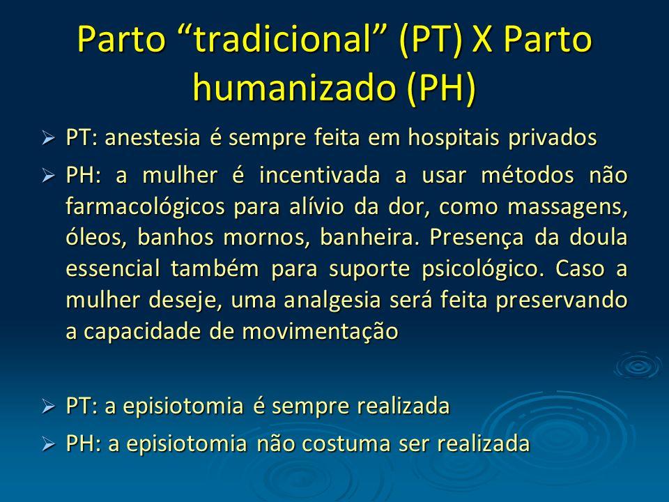 Parto tradicional (PT) X Parto humanizado (PH) PT: anestesia é sempre feita em hospitais privados PT: anestesia é sempre feita em hospitais privados P