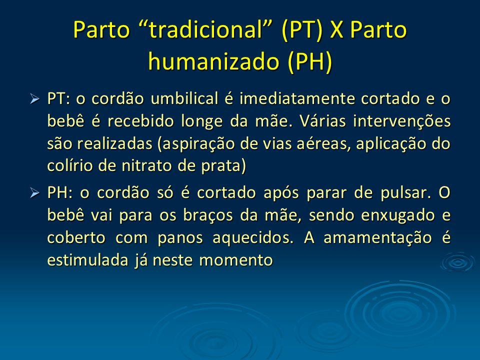 Parto tradicional (PT) X Parto humanizado (PH) PT: o cordão umbilical é imediatamente cortado e o bebê é recebido longe da mãe. Várias intervenções sã