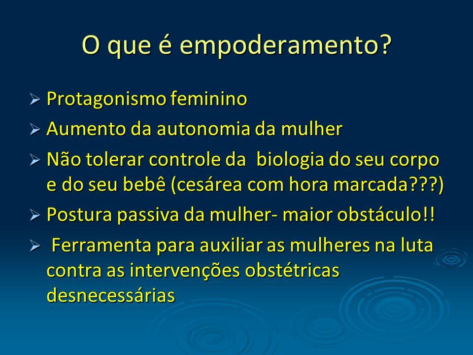 O que é empoderamento? Protagonismo feminino Protagonismo feminino Aumento da autonomia da mulher Aumento da autonomia da mulher Não tolerar controle
