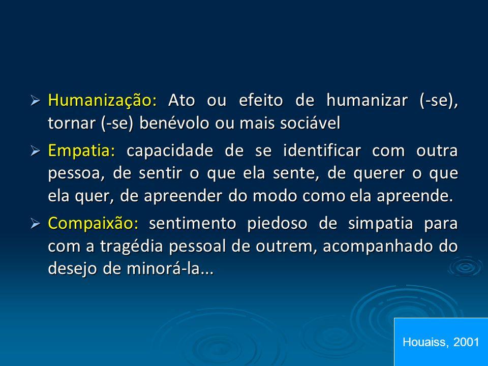 Humanização: Ato ou efeito de humanizar (-se), tornar (-se) benévolo ou mais sociável Humanização: Ato ou efeito de humanizar (-se), tornar (-se) bené